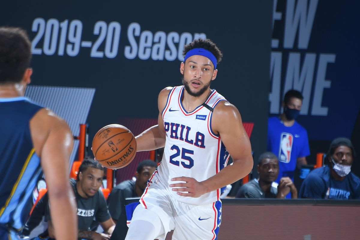 Ben Simmons of the Philadelphia 76ers handles the ball against the Memphis Grizzlies during a scrimmage on July 24, 2020 at The Arena at ESPN Wide World of Sports in Orlando, Florida.