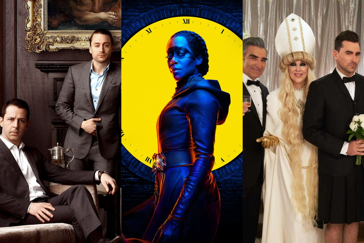 Images from HBO's Succession, HBO's Watchmen, and Pop's Schitt's Creek, from left to right.