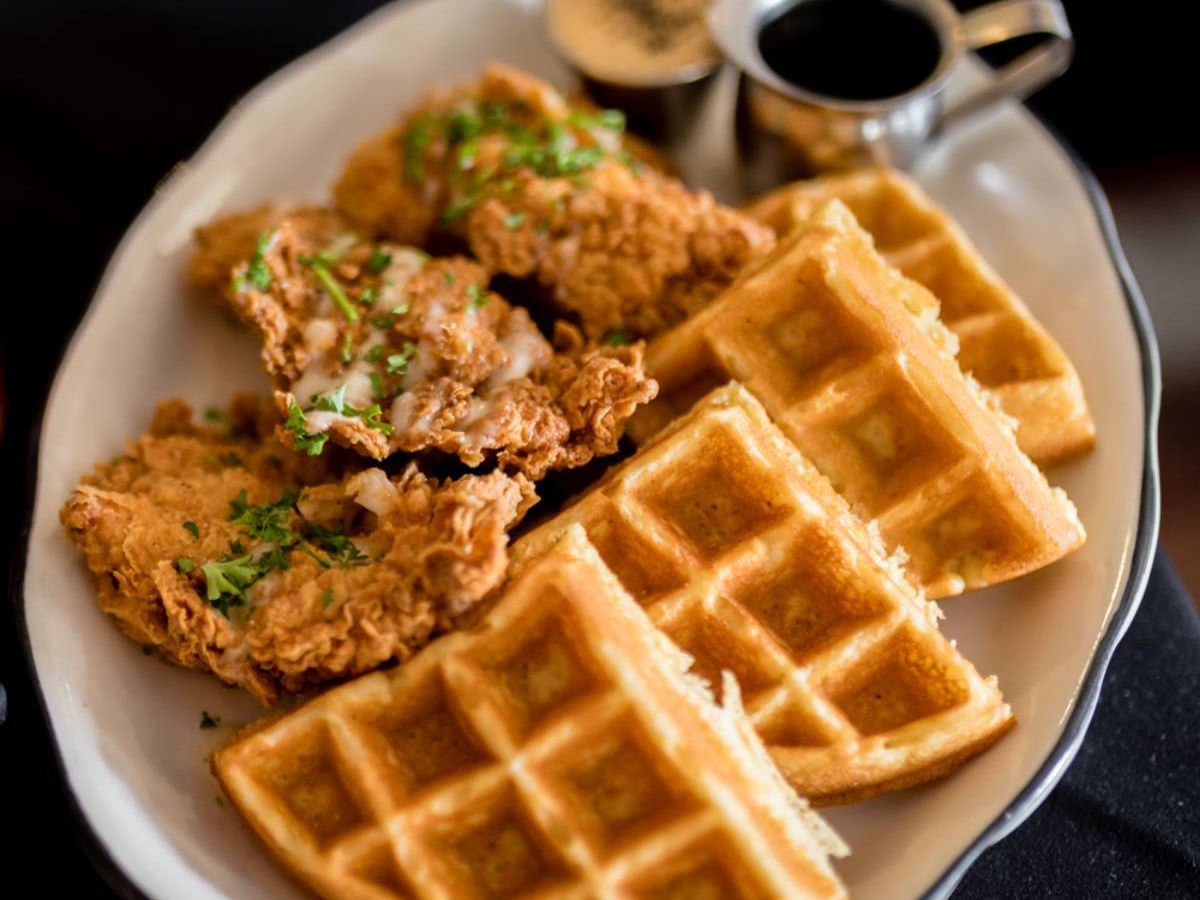 Chicken and waffles at Moonshine