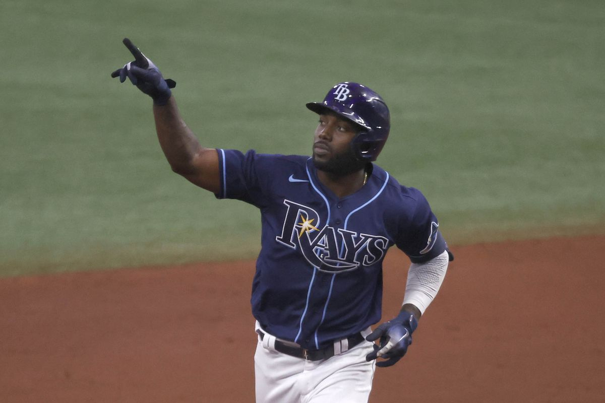 Tampa Bay Rays left fielder Randy Arozarena reacts after he hit a three-run home run during the fifth inning against the Toronto Blue Jays at Tropicana Field.