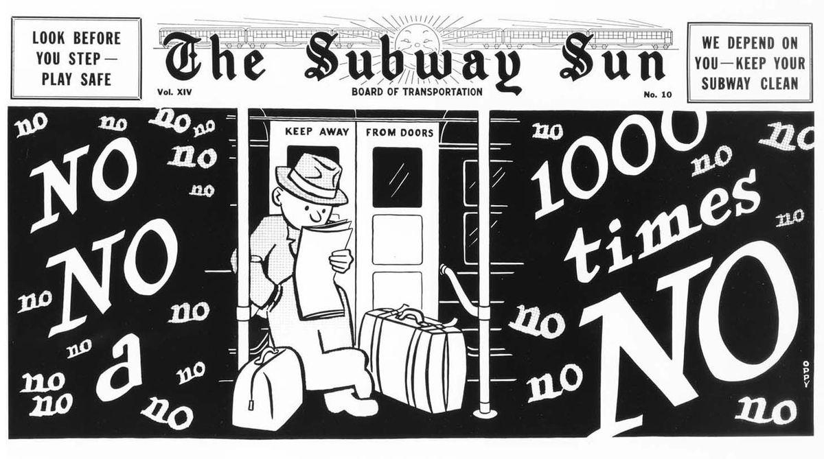 blocking door subway ad