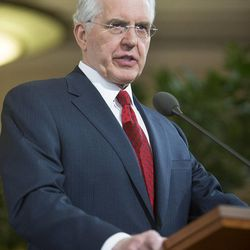 Elder D. Todd Christofferson of the Quorum of the Twelve Apostles speaks at a news conference Tuesday, Jan. 27, 2015,  inside the Conference Center in Salt Lake City, as LDS leaders reemphasize support for LGBT nondiscrimination laws that protect religious freedoms.