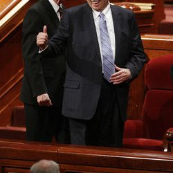 President Thomas S. Monson waves to attendees after the final session of  the 182nd Annual General Conference for The Church of Jesus Christ of Latter-day Saints in Salt Lake City  Sunday, April 1, 2012.
