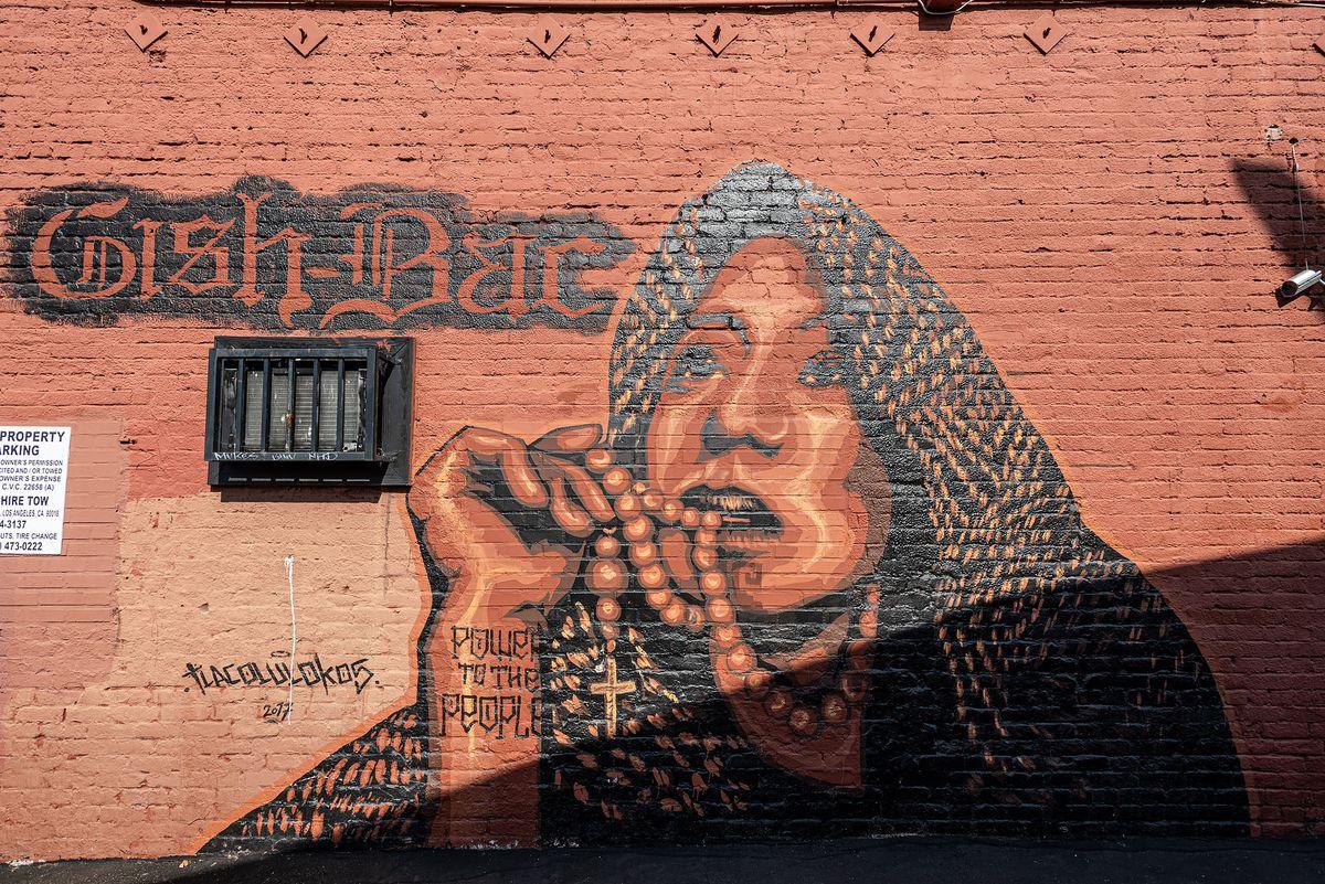 棕色砖墙上的一幅妇女壁画。