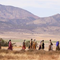 """Extras walk to the set after lunch during filming of a faith-based streaming series on the life of Jesus Christ called """"The Chosen"""" at The Church of Jesus Christ of Latter-day Saints' Jerusalem set in Goshen, Utah County, on Monday, Oct. 19, 2020."""