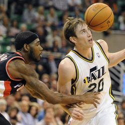 Utah Jazz small forward Gordon Hayward (20) has the ball knocked out of his hands by Portland Trail Blazers shooting guard Will Barton (5) in the second half of a game at the Energy Solutions Arena on Wednesday, October 16, 2013.