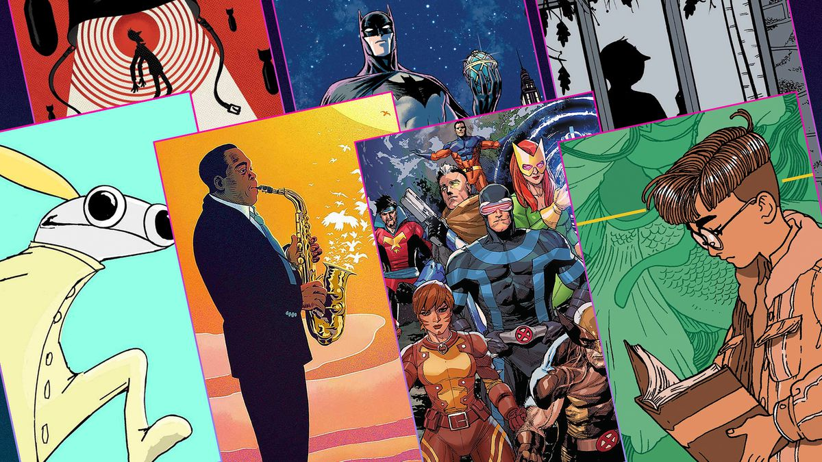 Graphic grid featuring seven different comic book covers