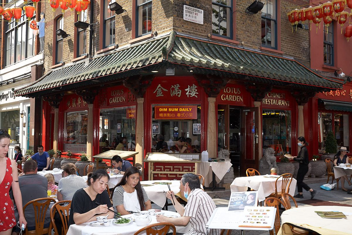 London's Chinatown with outdoor tables in the streets for restaurants reopening after coronavirus lockdown
