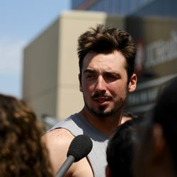Broncos rookie QB Paxton Lynch talks to the media after the final training camp practice.