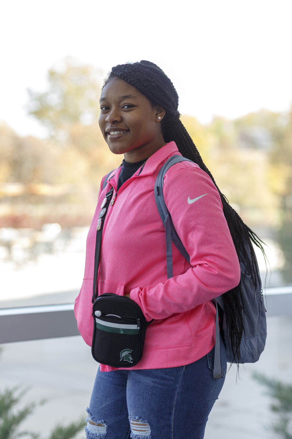 Kashia Perkins, a freshman at Michigan State University, poses for a photograph on Wednesday, Oct. 23, 2019.