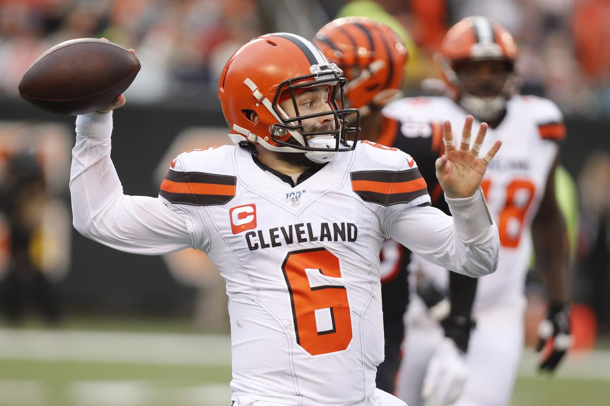 Cleveland Browns quarterback Baker Mayfield throws the ball against the Cincinnati Bengals during the first half at Paul Brown Stadium.