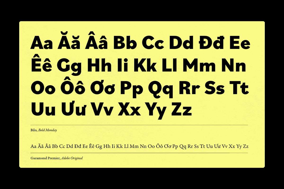 """Characters from the Latin-based Vietnamese alphabet displayed in the font """"Bilo""""."""