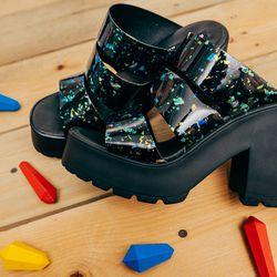 "<b>Miista</b> Ava Sandals, <a href=""http://www.internationalplayground.com/women/miista-ava-sandal-black-speckle.html"">$158</a>"