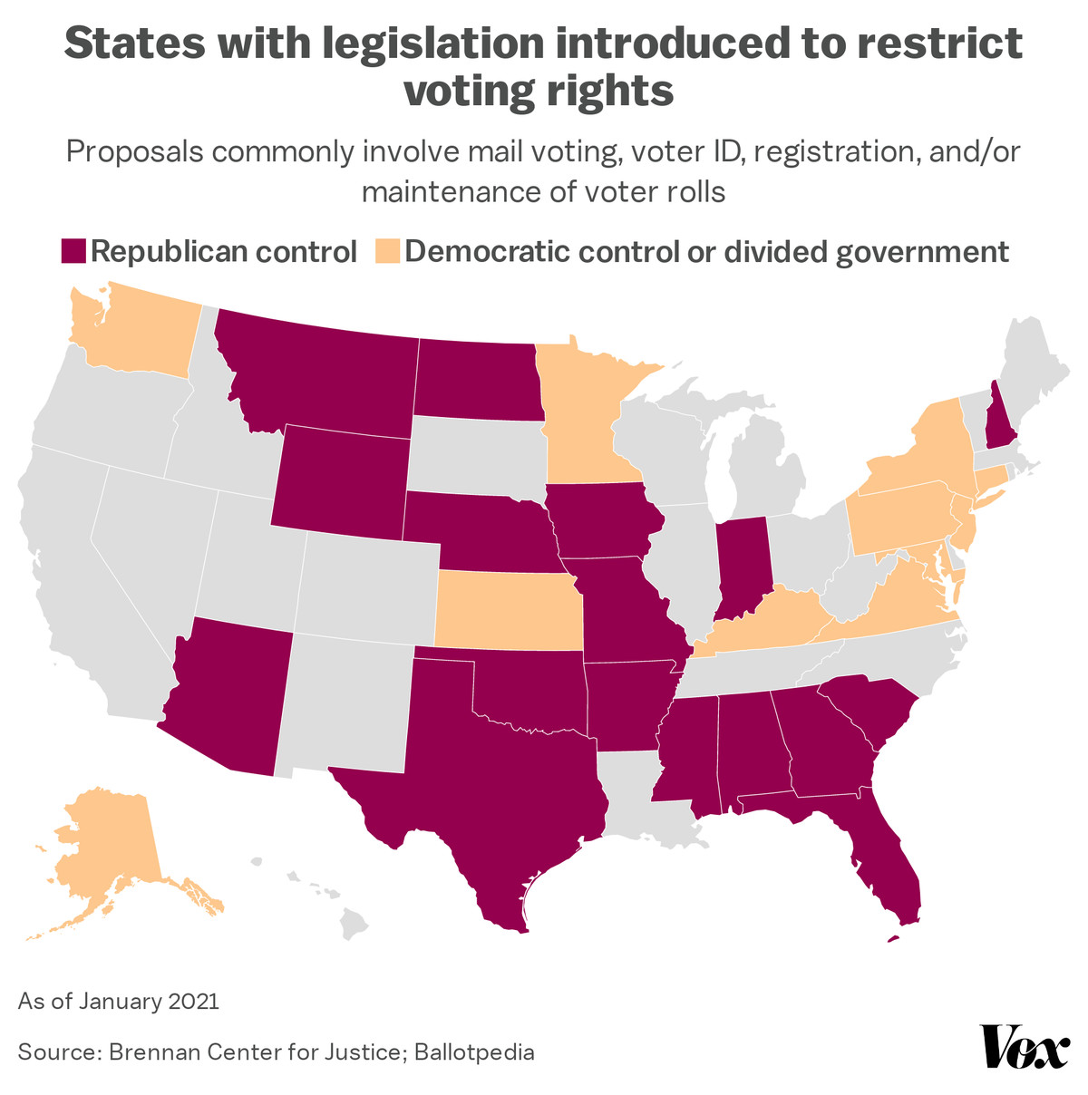A map of voting rights restriction bills