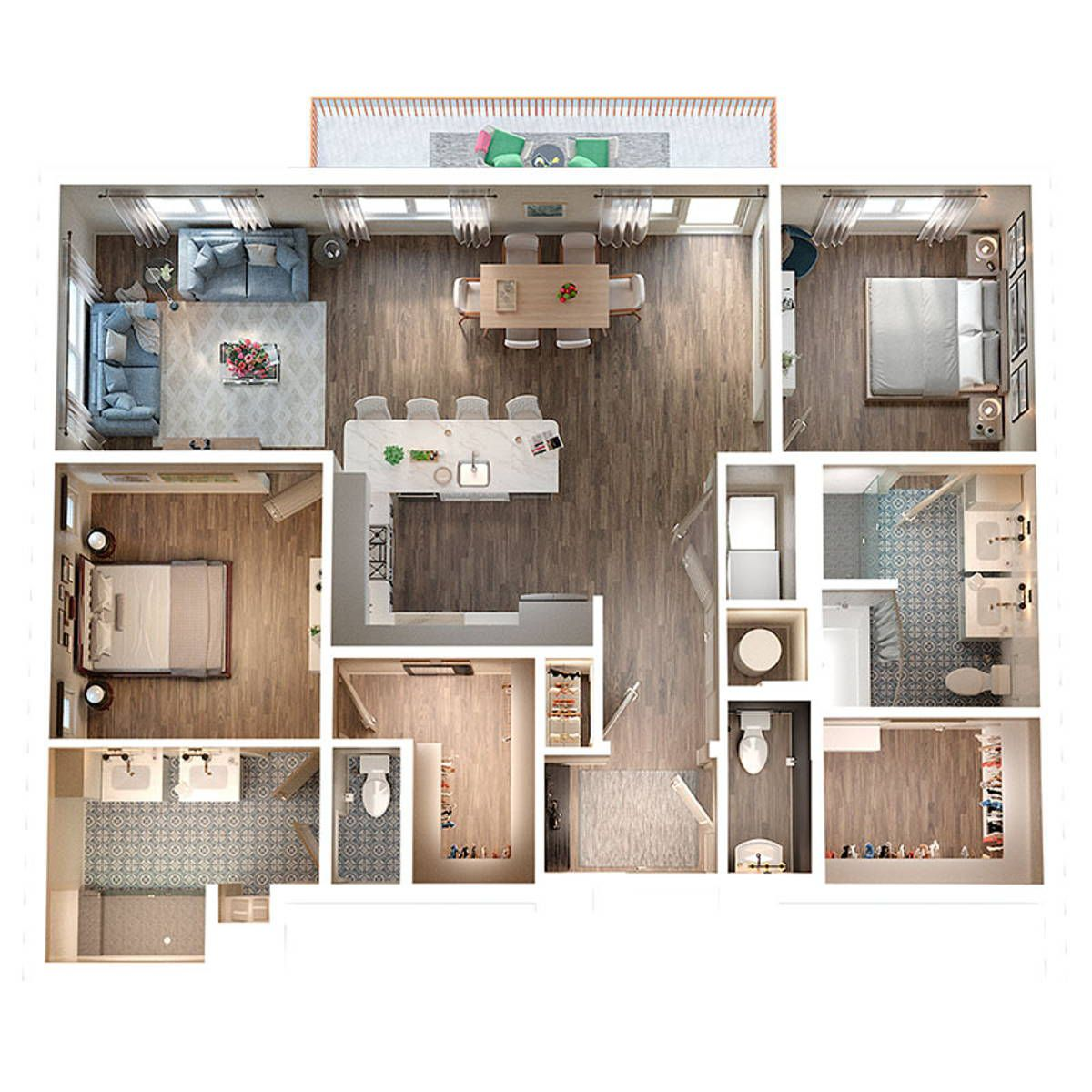 A two-bedroom floorplan for a condo.