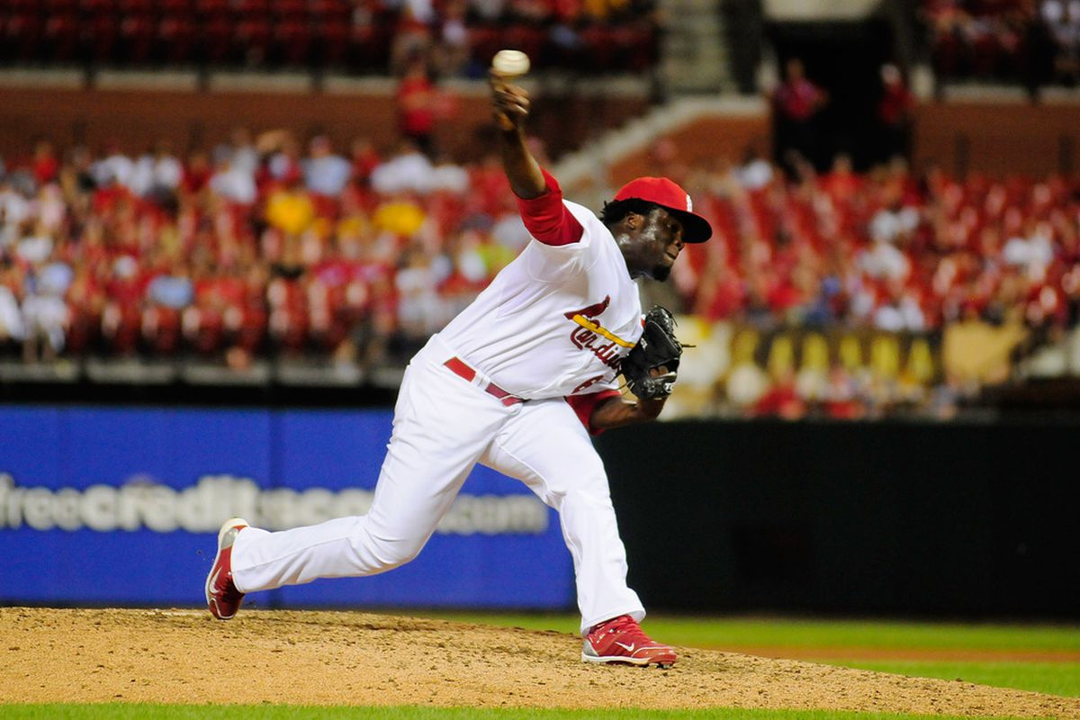 ST. LOUIS, MO - JUNE 21: Maikel Cleto #63 of the St. Louis Cardinals throws to a Philadelphia Phillies batter at Busch Stadium on June 21, 2011 in St. Louis, Missouri.  (Photo by Jeff Curry/Getty Images)