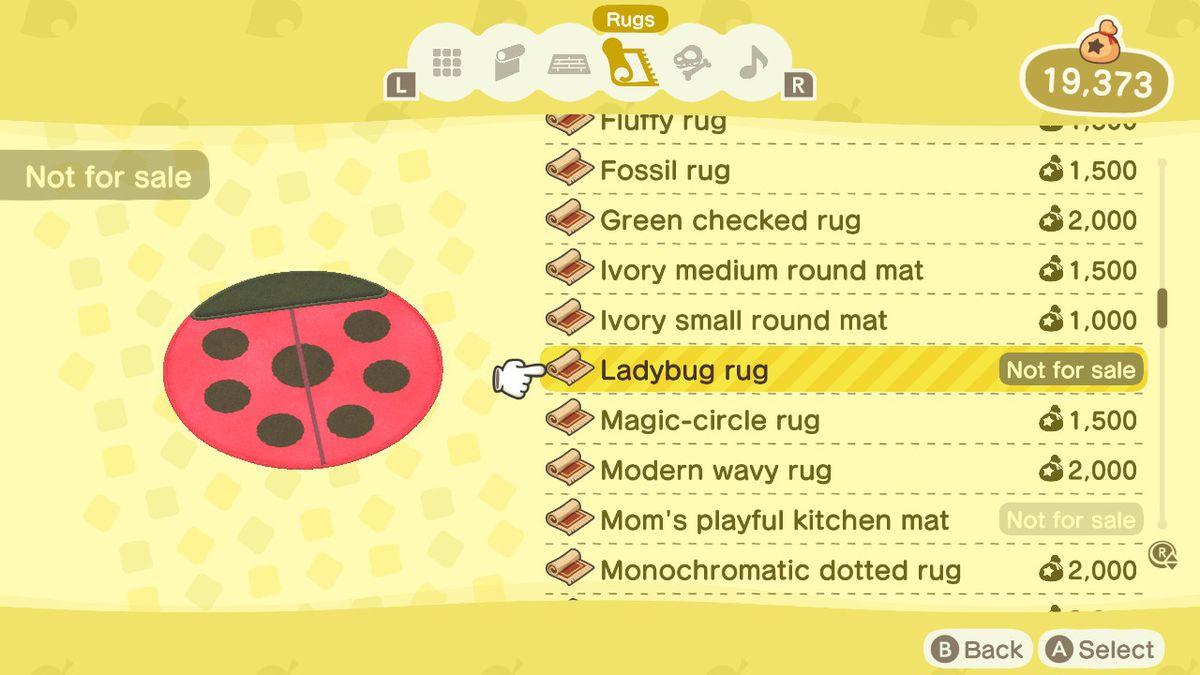 An Animal Crossing: New Horizons shop menu for a Ladybug Rug