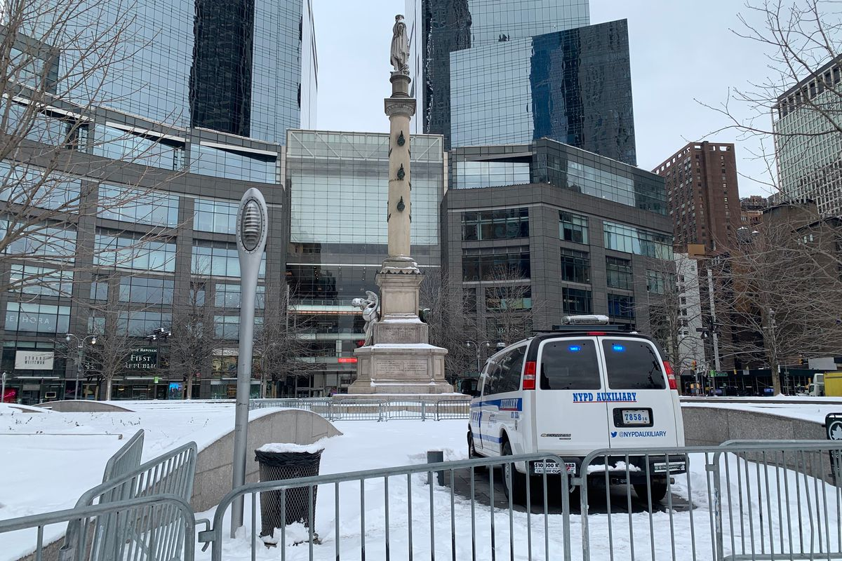 The statue at Columbus Circle remains under NYPD protection, Feb. 9, 2021.