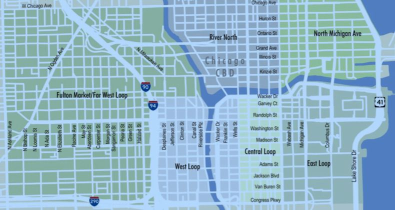 Chicago Loop and Fulton Market Map