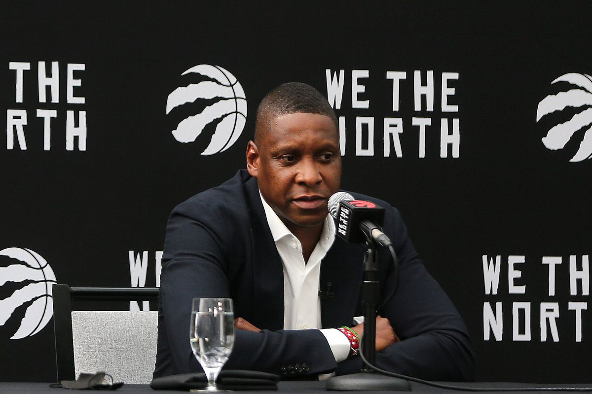 Toronto Raptors President Masai Ujiri holds a press conference to address his new title, vice-chairman, his new contract, his relationship with Kyle Lowry, and more