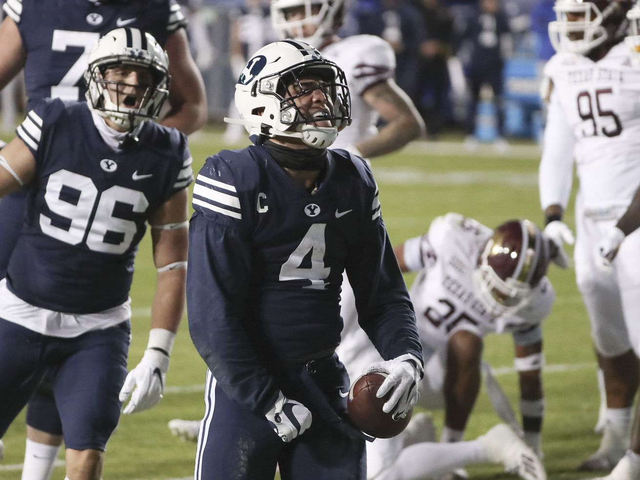 BYU scores 49 straight points en route to blasting Texas State, 52-14