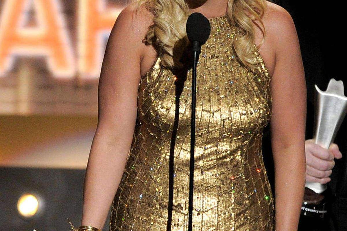 """Miranda Lambert accepts the award for album of the year for """"Four the Record"""" at the 47th Annual Academy of Country Music Awards on Sunday, April 1, 2012 in Las Vegas."""