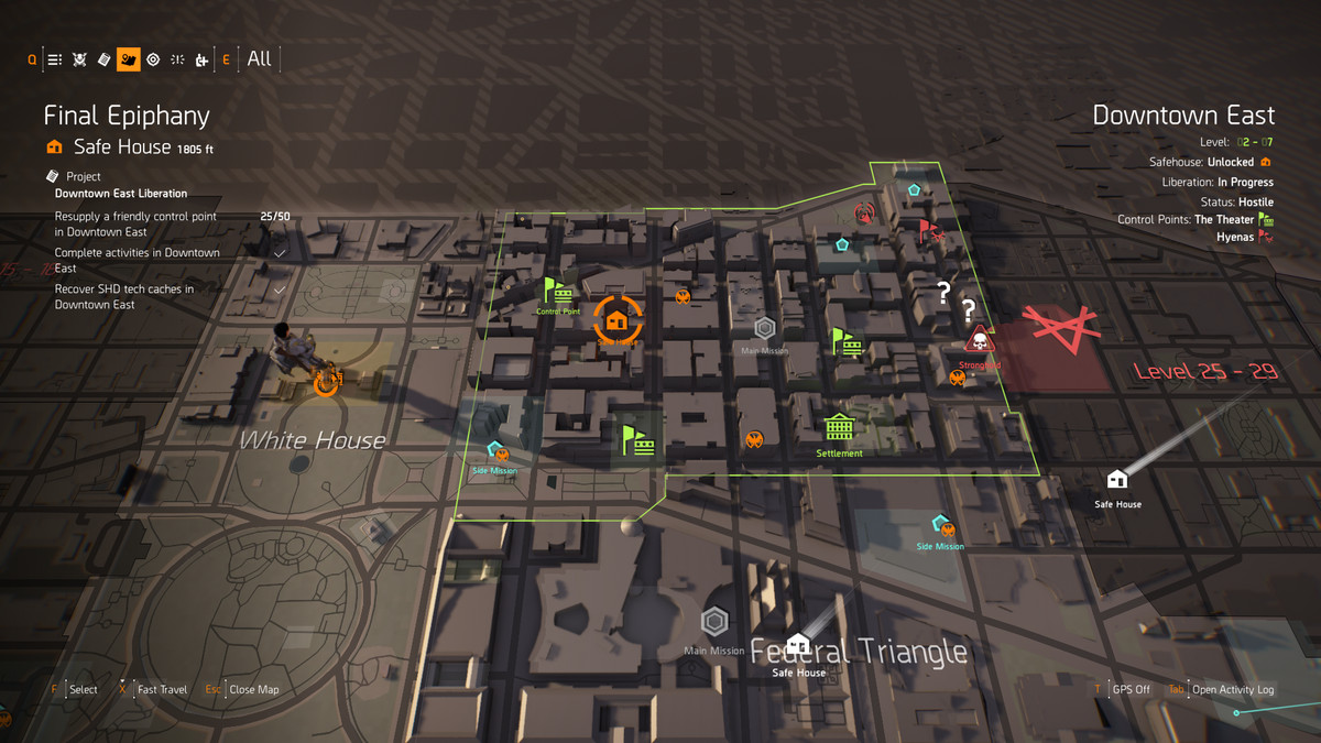 A screenshot of a map in The Division 2