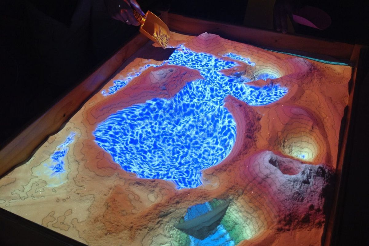 Augmented Reality Sandbox Uses Kinect For Realtime Topography And - Topographic coffee table