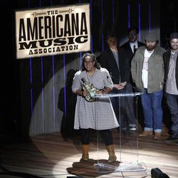 Alabama Shakes members Brittany Howard, guitarist Heath Fogg, bassist Zac Cockrell, and drummer Steve Johnson receive the award for Emerging Artist at the 11th annual Americana Honors & Awards, Wednesday Sept. 12, 2012, in Nashville, Tenn.