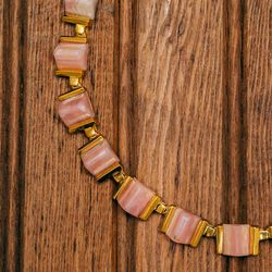 """<a href=""""http://www.stanmorenyc.com/claire-collar-in-pink-opal-1/"""">Claire collar</a> in pink opal ($715)"""