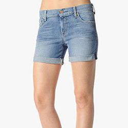 """<strong>7 For All Mankind</strong> Mid Roll Up Shorts in Summer Canyon, <a href=""""http://www.neimanmarcus.com/p/7-For-All-Mankind-Mid-Roll-Up-Shorts-Summer-Canyon-7-for-all-mankind-shorts/prod156970342___/?icid=&searchType=MAIN&rte=%252Fsearch.jsp%253FN%25"""