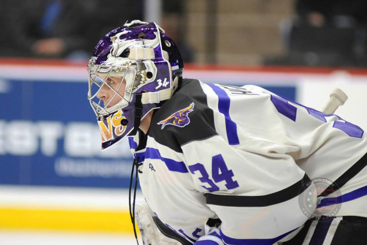 Minnesota State's Cole Huggins came very close to being pulled in overtime to take a shot at winning the MacNaughton Cup