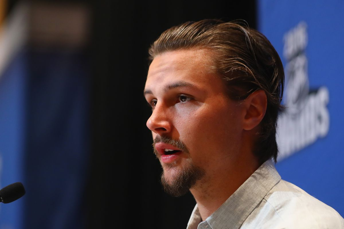 LAS VEGAS, NV - JUNE 21: Erik Karlsson of the Ottawa Senators speaks with the media during a press availability on June 21, 2016 at the Encore Ballroom in Las Vegas, Nevada. The 2016 NHL Award Ceremony will by held on June 22 at the Encore Theater at Wynn