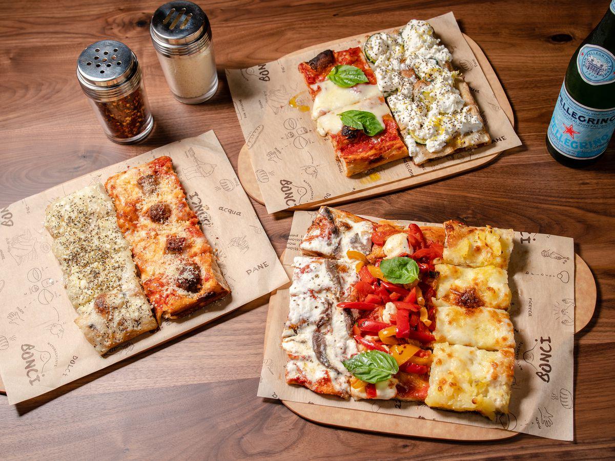 An assortment of Bonci pizzas