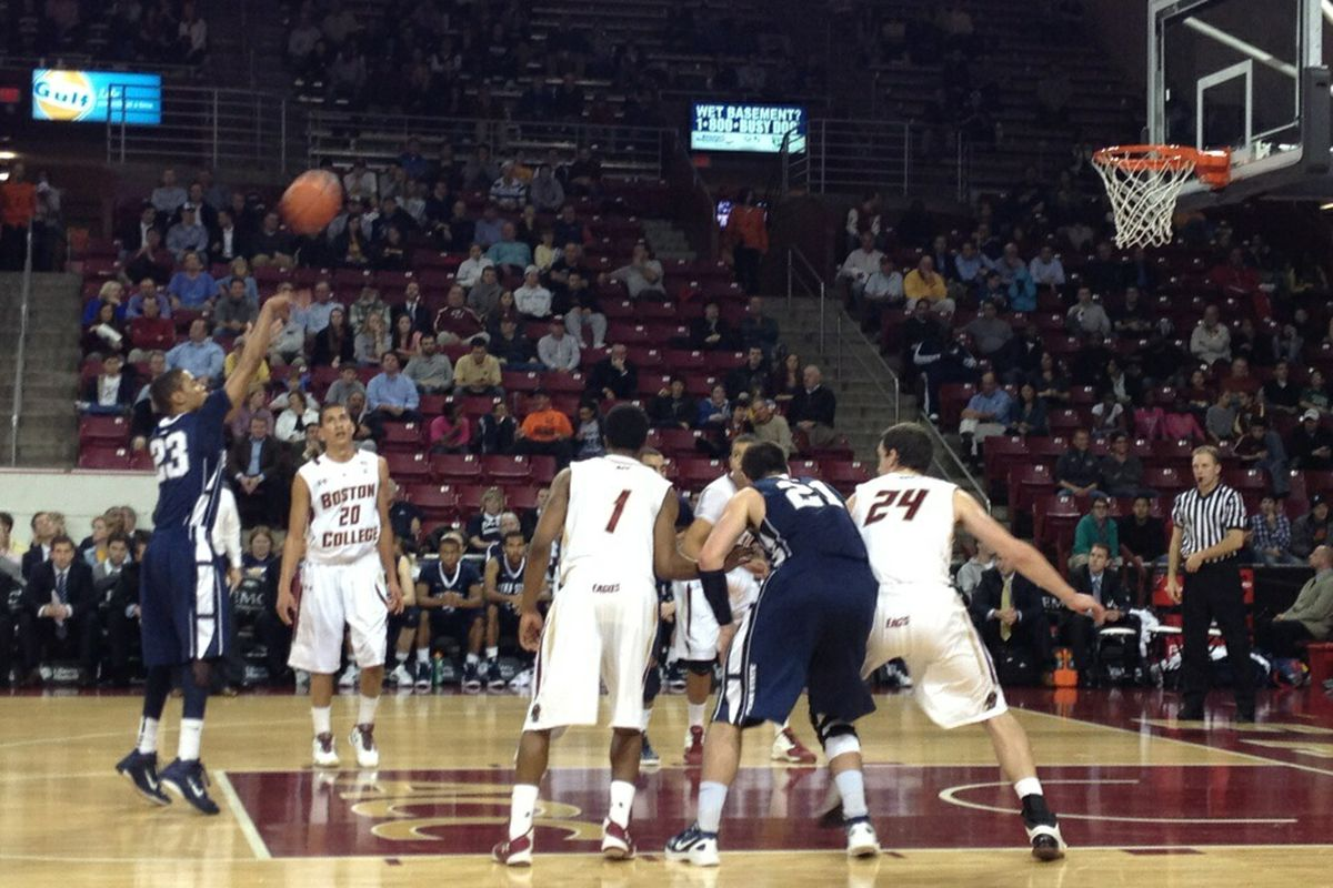 Penn State's Tim Frazier attempts a free throw in the second half of the Nittany Lions' 62-54 win over the Boston College Eagles in the ACC-Big Ten Challenge on Wednesday night at Conte Forum in Chestnut Hill, MA. (Photo by Matt Nelson)