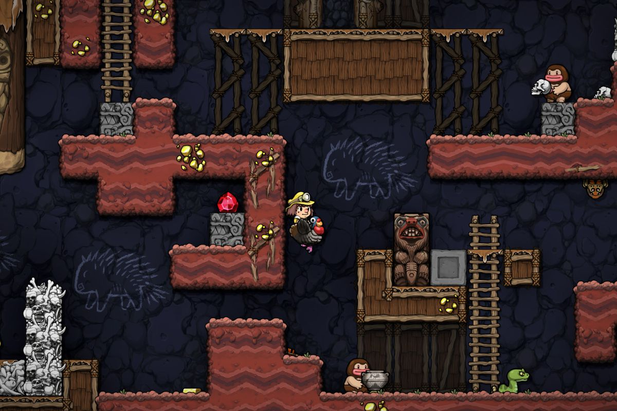 An adventurer in Spelunky 2 rides a turkey