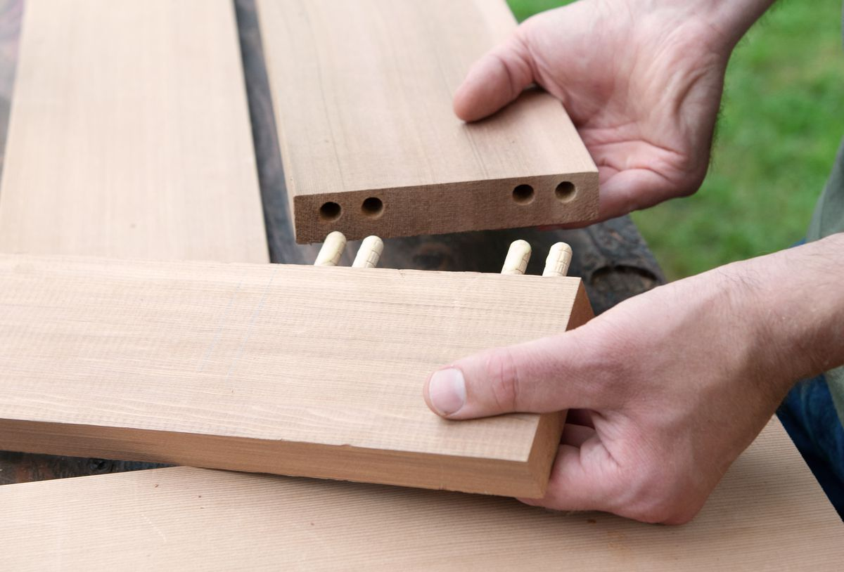 Man Makes Clamping Jig For Picnic Bench