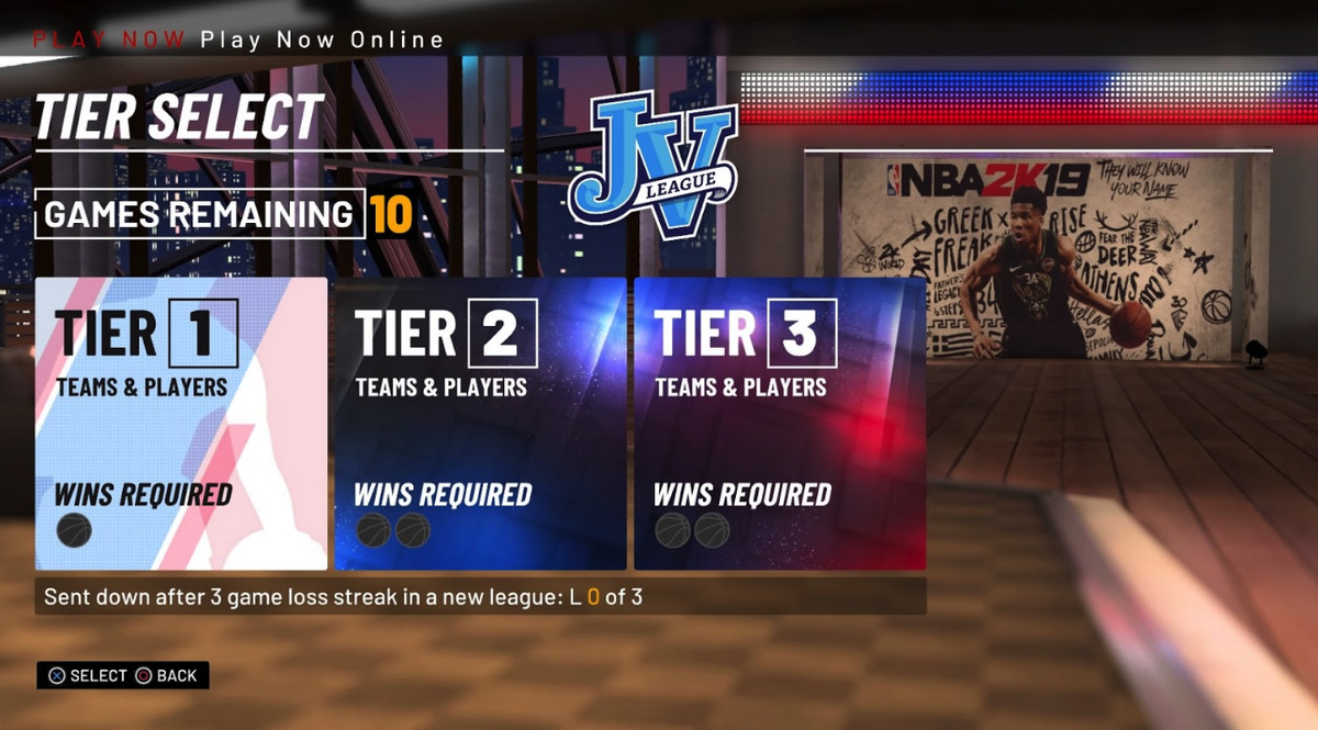 NBA 2K19 - tier system in online Play Now
