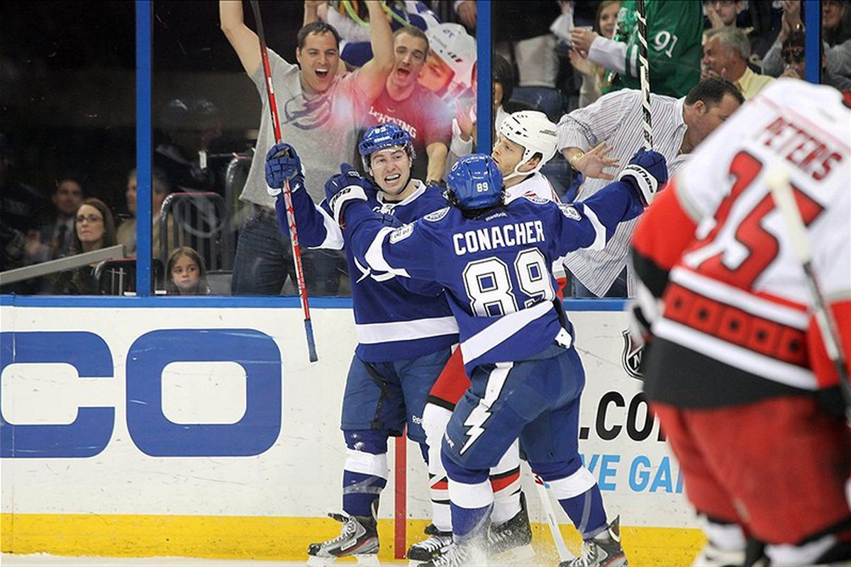 Lightning rookies Tyler Johnson and Cory Conacher celebrate Johnson's first period goal, the first of his NHL career.