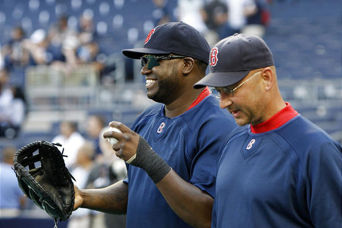 Boston Red Sox designated hitter David Ortiz jokes around with Red Sox manager Terry Francona before Boston's baseball game against the New York Yankees at Yankee Stadium in New York, Thursday.