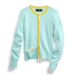 "<a href=""http://www.cwonder.com/signature-cotton-preppy-cardigan-20.html"">Signature Cotton Preppy Cardigan</a> in Pistachio, $78"