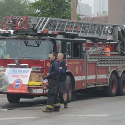 3:42 p.m. Firefighters fundraising for MDA, at Waveland and Clark -