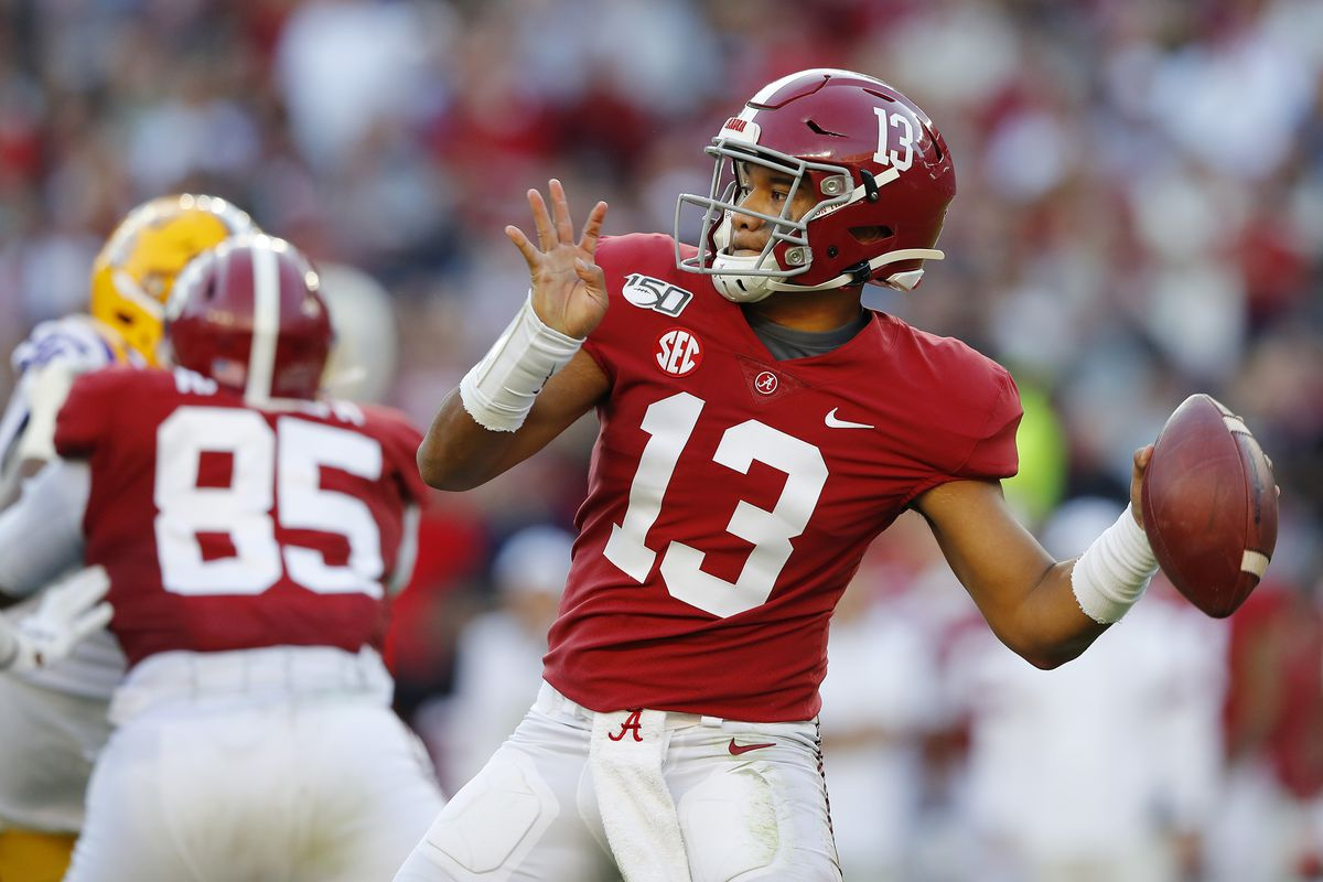 Tua Tagovailoa #13 of the Alabama Crimson Tide throws a pass during the first half against the LSU Tigers in the game at Bryant-Denny Stadium on November 09, 2019 in Tuscaloosa, Alabama.