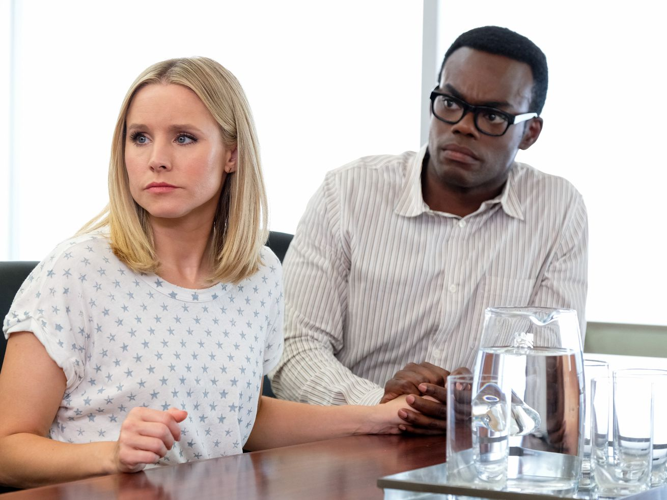 """Kristen Bell as Eleanor and and William Jackson Harper as Chidi in """"The Good Place"""" TV show."""