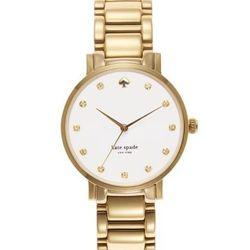 """Gramercy Crystal in gold, <a href=""""http://www.katespade.com/gramercy-crystal/1YRU0007,default,pd.html?dwvar_1YRU0007_color=711&start=11&cgid=watches"""">$250</a>."""