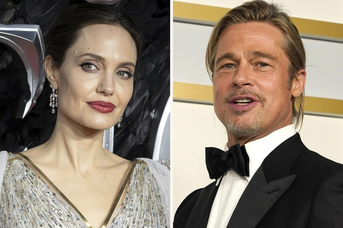 """In this combination photo, Angelina Jolie, left, arrives at the European Premiere of """"Maleficent Mistress of Evil"""" in central London on Oct. 9, 2019, and Brad Pitt poses in the press room at the Oscars on April 25, 2021, in Los Angeles. A California appeals court on Friday, July 23, 2021, disqualified a private judge being used by Angelina Jolie and Brad Pitt in their divorce case, handing Jolie a major victory."""