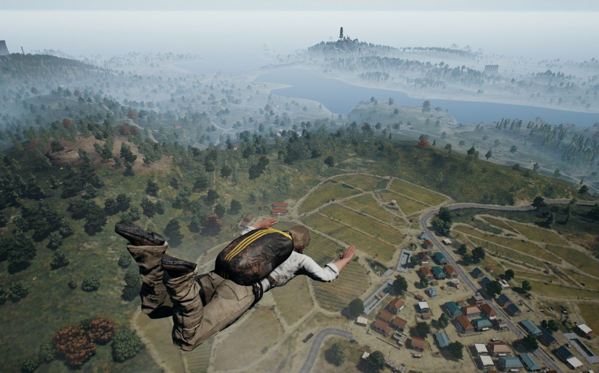 a guy dropping from the plane in PUBG
