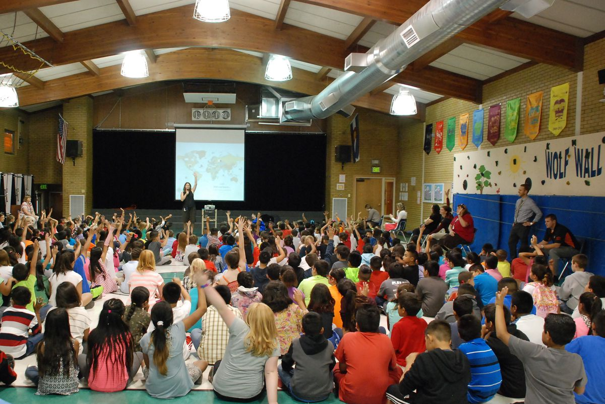 In September, Tennyson Knolls students gathered in the gym for an assembly to introduce a new Blocks of Hope literacy passport program.