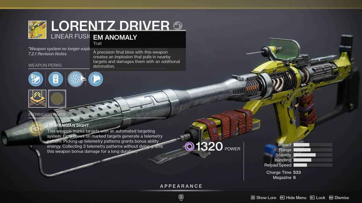 The Lorentz Driver linear fusion rifle in Destiny 2
