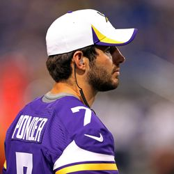 Aug 9, 2013; Minneapolis, MN, USA; Minnesota Vikings quarterback Christian Ponder (7) looks on from the sidelines during the third quarter against the Houston Texans at the Metrodome. The Texans won 27-13.